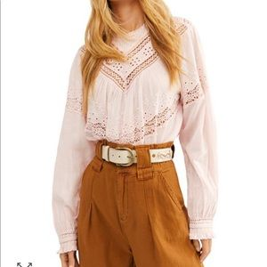 Free People Abigail Victorian Cotton Top